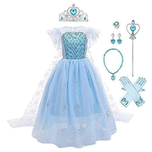 Mädchen Prinzessin Elsa Kostüme Eiskönigin Schneeflocke Tüll Kleid...