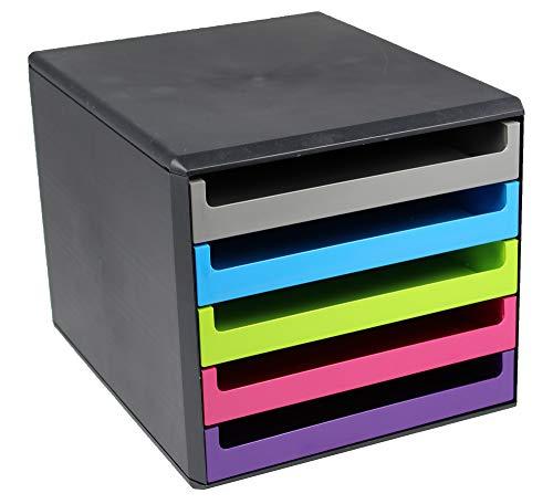 Metzger & Mendle 30057680 Schubladenbox in anthrazit mit 5 farbig...