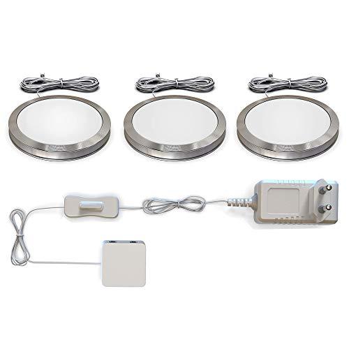 B.K. Licht LED Unterbauleuchten 3er Set Schrankleuchten Komplettset...