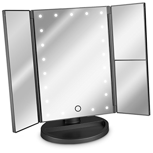 Navaris LED Kosmetikspiegel Faltbarer Standspiegel - beleuchteter...