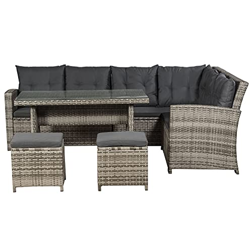 ArtLife Polyrattan Lounge Set Santa Catalina beige-grau –...