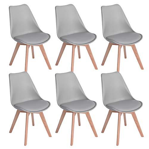 EGGREE 6er Set Esszimmerstühle mit Massivholz Buche Bein, Retro...