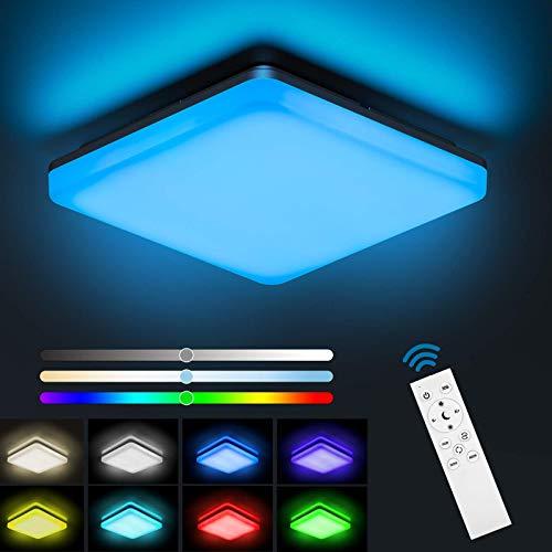 NIXIUKOL 24W LED Deckenleuchte Dimmbar RGB, Deckenlampe mit...