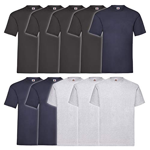 10 Fruit of the loom T Shirts Valueweight T Rundhals S M L XL XXL 3XL...