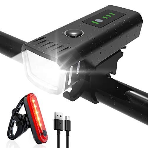 SHENMATE Fahrradlicht LED Vorne und Rücklicht Set, USB Aufladbar...
