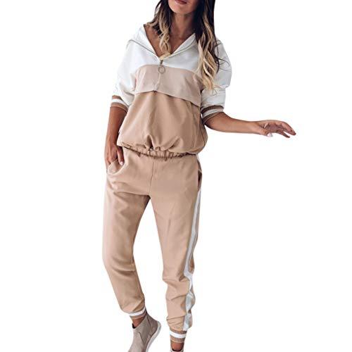Streetwear Damen 2Pcs TrainingsanzüGe Patchwork Langarm Jogginganzug...