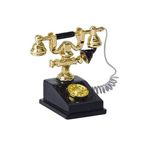 Gcroet Puppenhaus Zubehör, Tiny Retro Telefon Mini House Crafts...