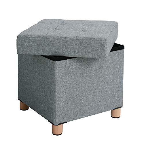 SONGMICS Sitzhocker, Faltbare Sitztruhe, gepolstert, mit Deckel,...