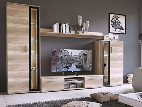 KRYSPOL Wohnwand Bentley Anbauwand, TV-Lowboard, Hängeschränke,...
