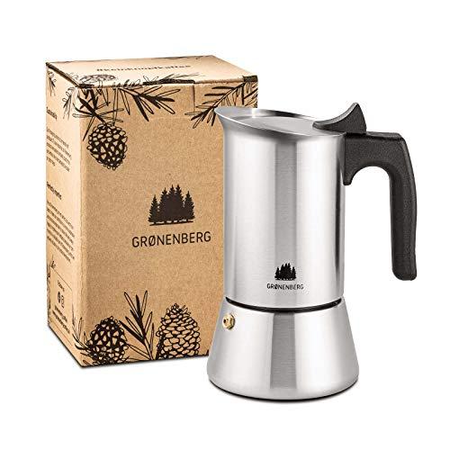 Groenenberg Espressokocher Induktion geeignet | Edelstahl | 4-6 Tassen...