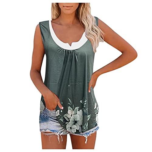Chejarity Damen Shirt U-Ausschnitt Sommer Oberteile Mode Lose Basic...