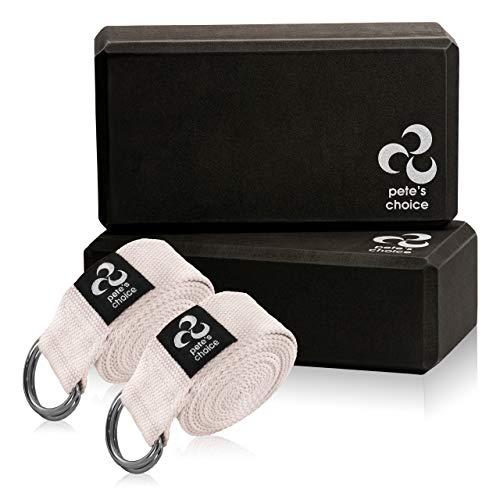 pete's choice 2 Yoga Blöcke und 2 Yogagurte - Yoga Fitness Set für...