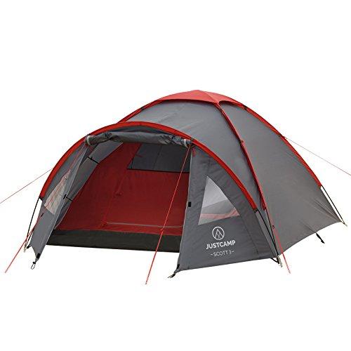Kuppelzelt Justcamp Scott 3, Campingzelt mit Vorraum, Iglu-Zelt für 3...