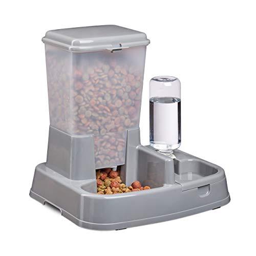 Relaxdays Wasser- und Futterspender, Futterautomat Katzen & Hunde,...
