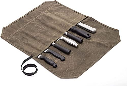 JURONG Kochmesser Rolltasche mit 7 Schlitzen, gewachstes Segeltuch,...