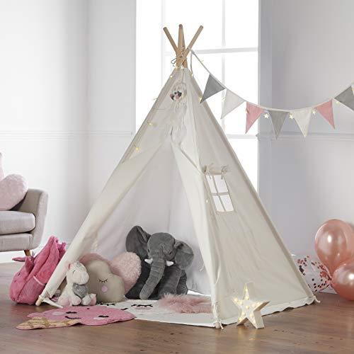 Haus Projekt Tipi Zelt Set Kinder mit Zubehör, Lichterkette,...