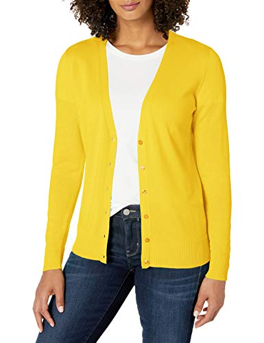 Amazon Essentials Damen-Strickjacke, leicht, Vee, gelb, L