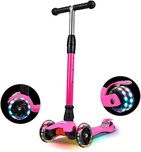 IMMEK Roller Kinder, PU Radstehende Scooter Roller mit LED-Lichtern,...