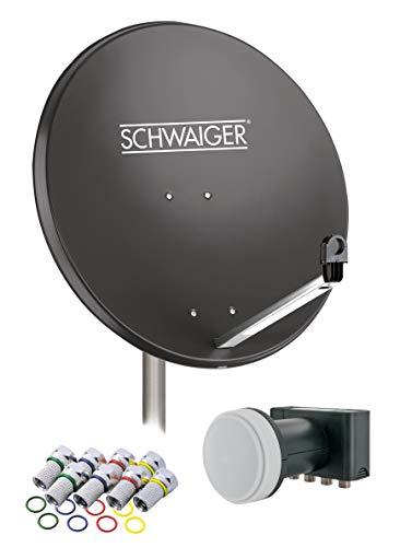 SCHWAIGER -517- Sat Anlage, Satellitenschüssel mit Quad LNB (digital)...