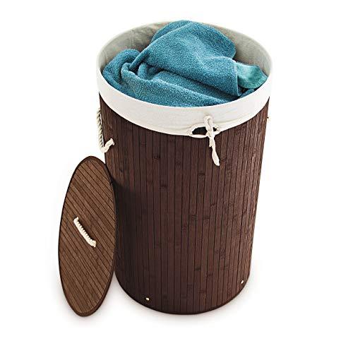 Relaxdays Wäschekorb Bambus, faltbare Wäschetonne mit Deckel,...
