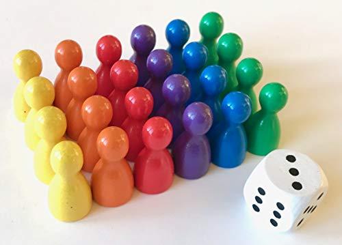 Spieltz Spielfiguren Set aus Holz für Ludo. Spielmaterial für...