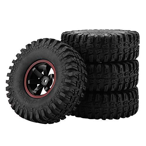 Dilwe RC Auto Reifen, 4 Stück Rad Reifen 6 Löcher Gummi Reifen mit...