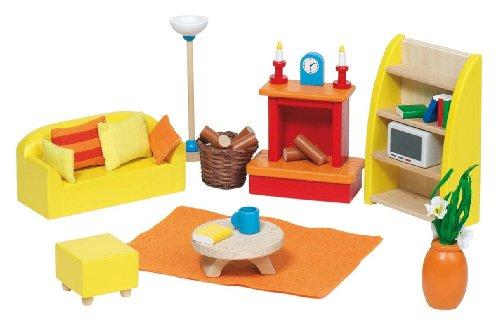 Goki 51904 Puppenhausmöbel für das Wohnzimmer, 34-teilig