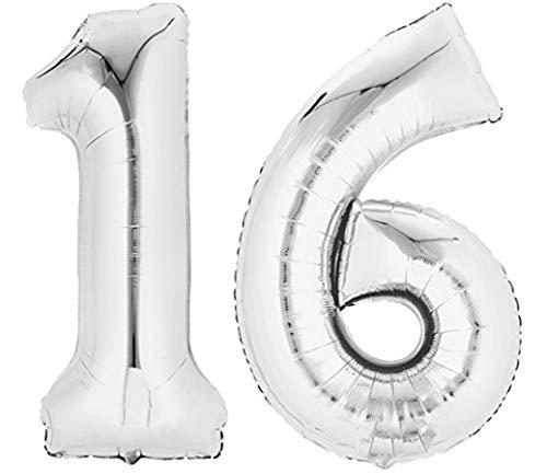 TopTen Folienballon Zahl 16 XL Silber ca. 70 cm hoch - Zahlenballon...