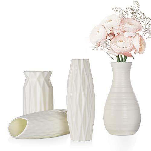 FORMIZON Kunststoff Vasen, 4 Stück Moderne Dekorative Blumenvase,...