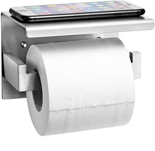 Auxmir Toilettenpapierhalter mit Ablage ohne Bohren, Klopapierhalter...