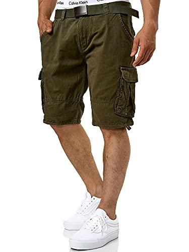 Indicode Herren Monroe Cargo ZA Shorts m. 6 Taschen inkl. Gürtel aus...