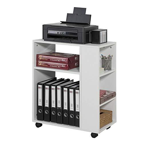 SoBuy® FBT68-W Druckertisch mit 7 Ablagen Rollcontainer Bürowagen...