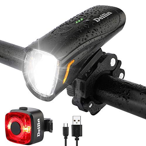 Deilin Upgraded LED Fahrradlicht Set, bis zu 70 Lux Fahrradlampe,...