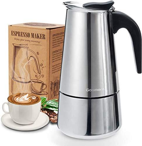 Godmorn Espressokocher, Kaffeekocher, Mokkakanne aus 430 Edelstahl,...