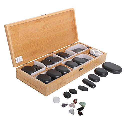 Hot Stone Steine Set 64 Stück in verschiedenen Größen aus Basalt...