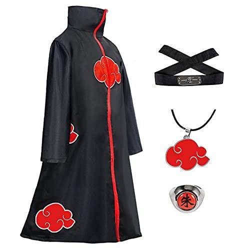 Xinqin 4 Stück Naruto Akatsuki Umhang, Anime Naruto Cosplay Kostüm,...