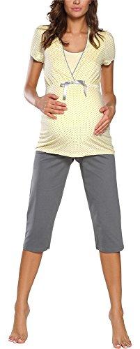 Italian Fashion IF Damen Stillpyjama F2L3C3T1 0225 (XL, Gelb)