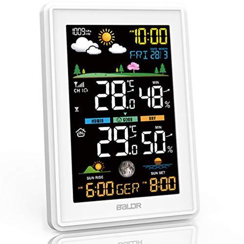 Konsen Wetterstation Farbdisplay mit Außensensor für innen-außen,...