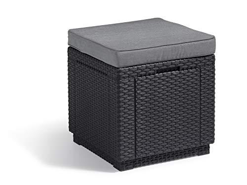 'Allibert by Keter' Hocker mit Stauraum Cube w/ cushion, graphit/cool...