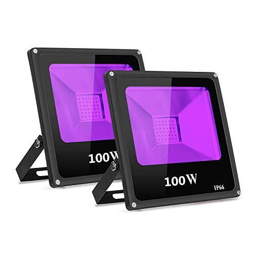 2-Pack UV Schwarzlicht 100W violettes LED Strahler Stadiums...