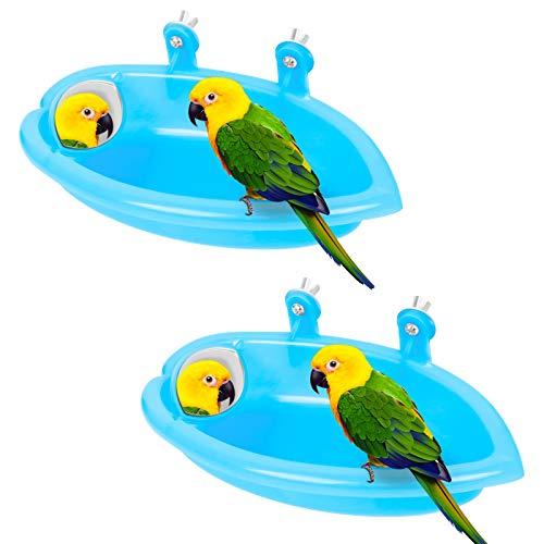 Vogel Dusche Wanne 2Pcs Papagei Badewanne Vogelkäfig Dusche Zubehör...