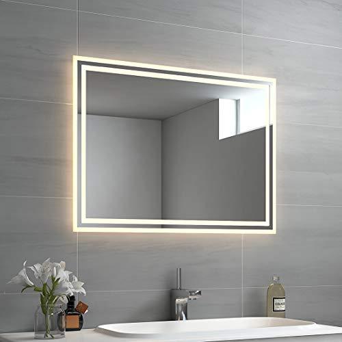 EMKE LED Badspiegel 80x60cm Badspiegel mit Beleuchtung Warmweiß...