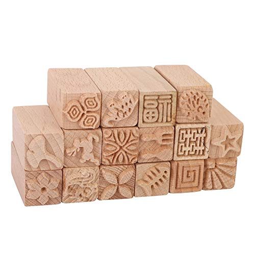 Atyhao Holz Ton Keramik Stempel, 16Pcs Keramik Werkzeuge Briefmarken...