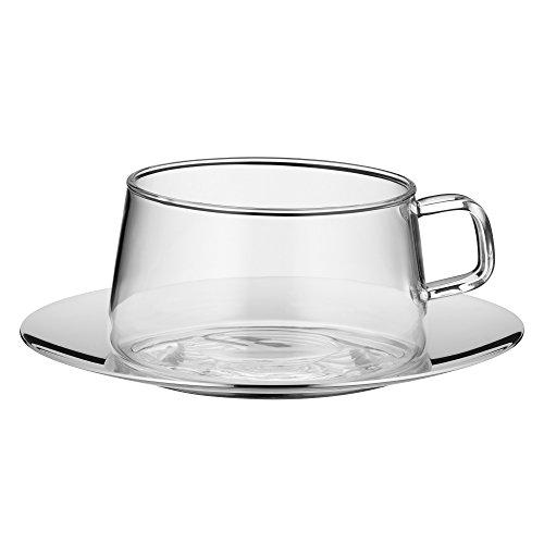 WMF TeaTime Teeglas mit Untertasse Tee-Tasse, hitzebeständiges Glas,...
