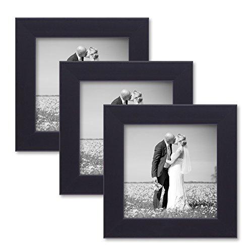 PHOTOLINI 3er Set Bilderrahmen 10x10 cm Schwarz Modern aus MDF mit...