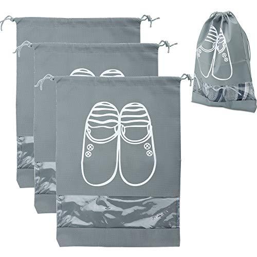 Intirilife 3X Schuhbeutel in GRAU – Set mit 3 Schuhsäcken mit...