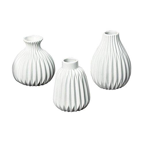 3er-Set Vasen 'Esko' Porzellan weiß