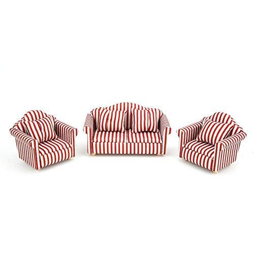 Puppenhaus Sofa, 1/12 Mini Puppenhaus Dekoration Orange Rotgold...