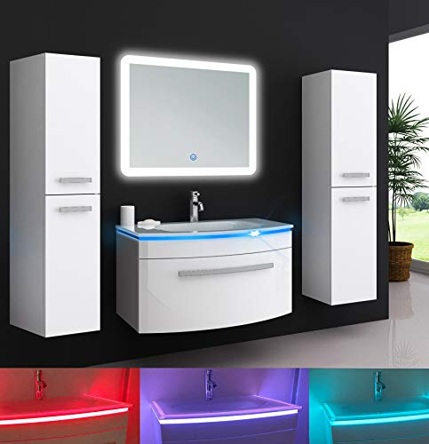 Oimex Jasmin 90 cm Badmöbel mit LED Spiegel + 2X Seitenschrank...