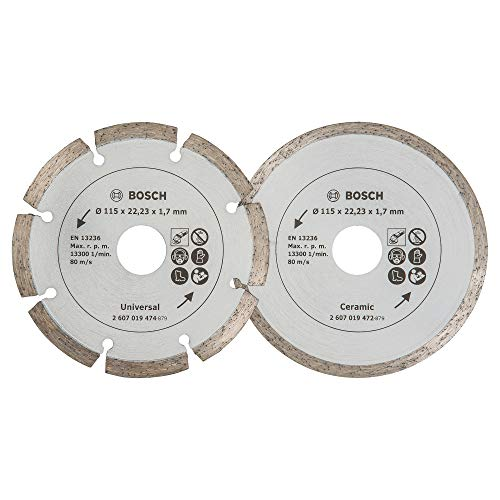 Bosch 2 Diamanttrennscheiben für Fliesen und Baumaterial, 115 mm,...
